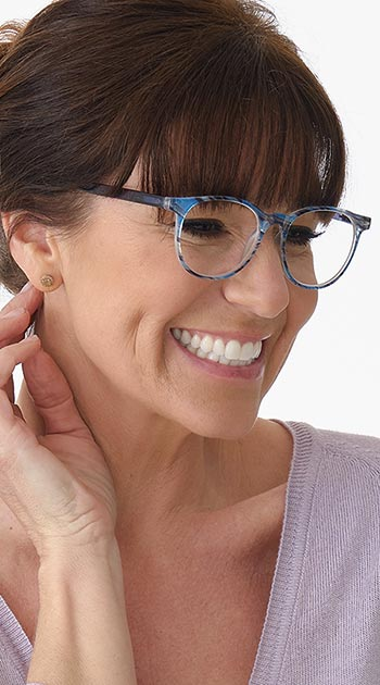 Isla (Blue) Fashion Reading Glasses - Thumbnail Model Image