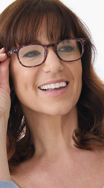 Edenbridge (Red) Fashion Reading Glasses - Thumbnail Model Image