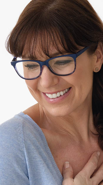 Grace (Blue) Fashion Reading Glasses - Thumbnail Model Image
