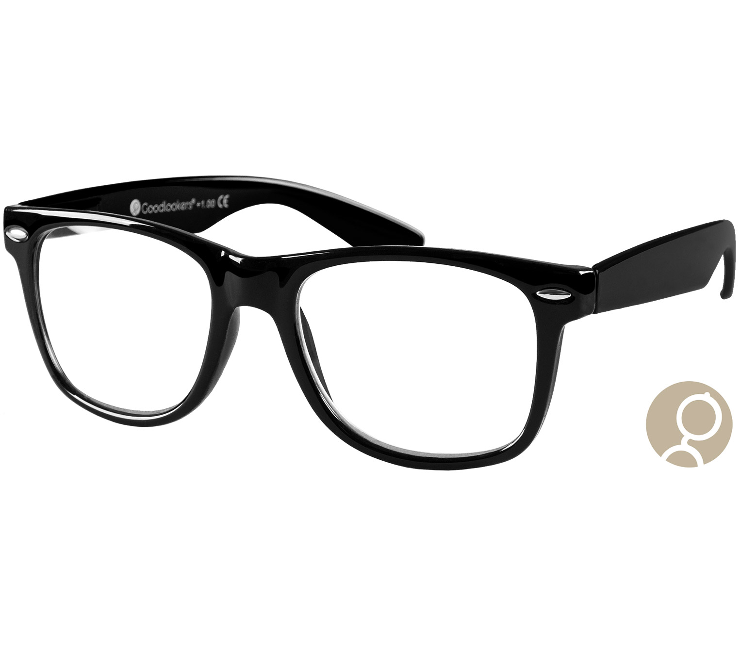 Main Image (Angle) - Billi Big (Black) Retro Reading Glasses