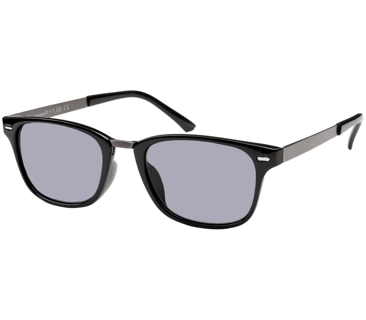 Main Image (Angle) - Frankie (Black) Retro Sun Readers