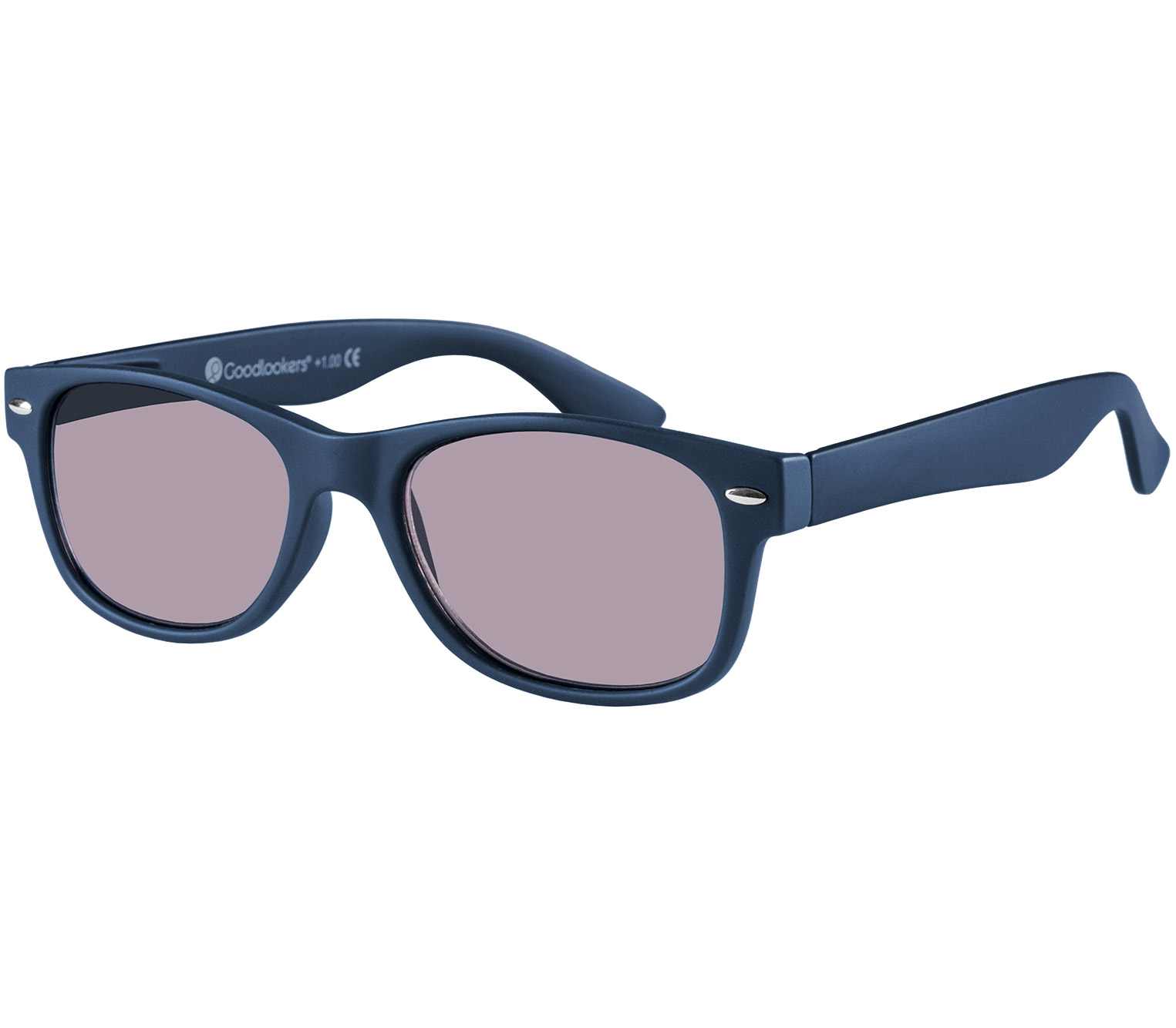 Main Image (Angle) - Dakota (Blue) Wayfarer Sun Readers