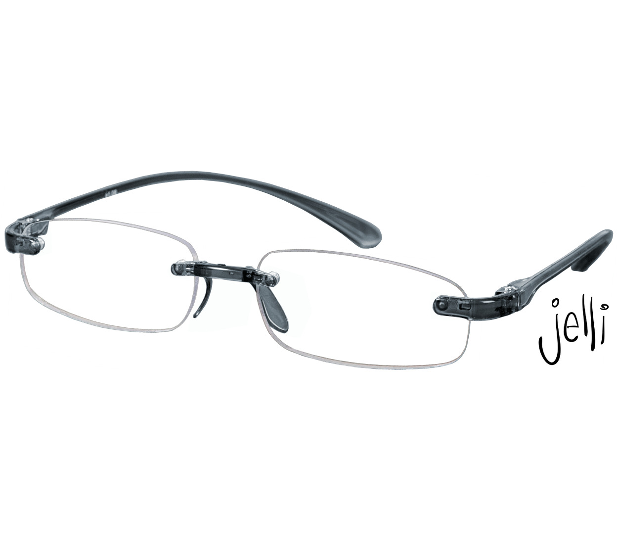 Main Image (Angle) - Jelli (Grey) Rimless Reading Glasses