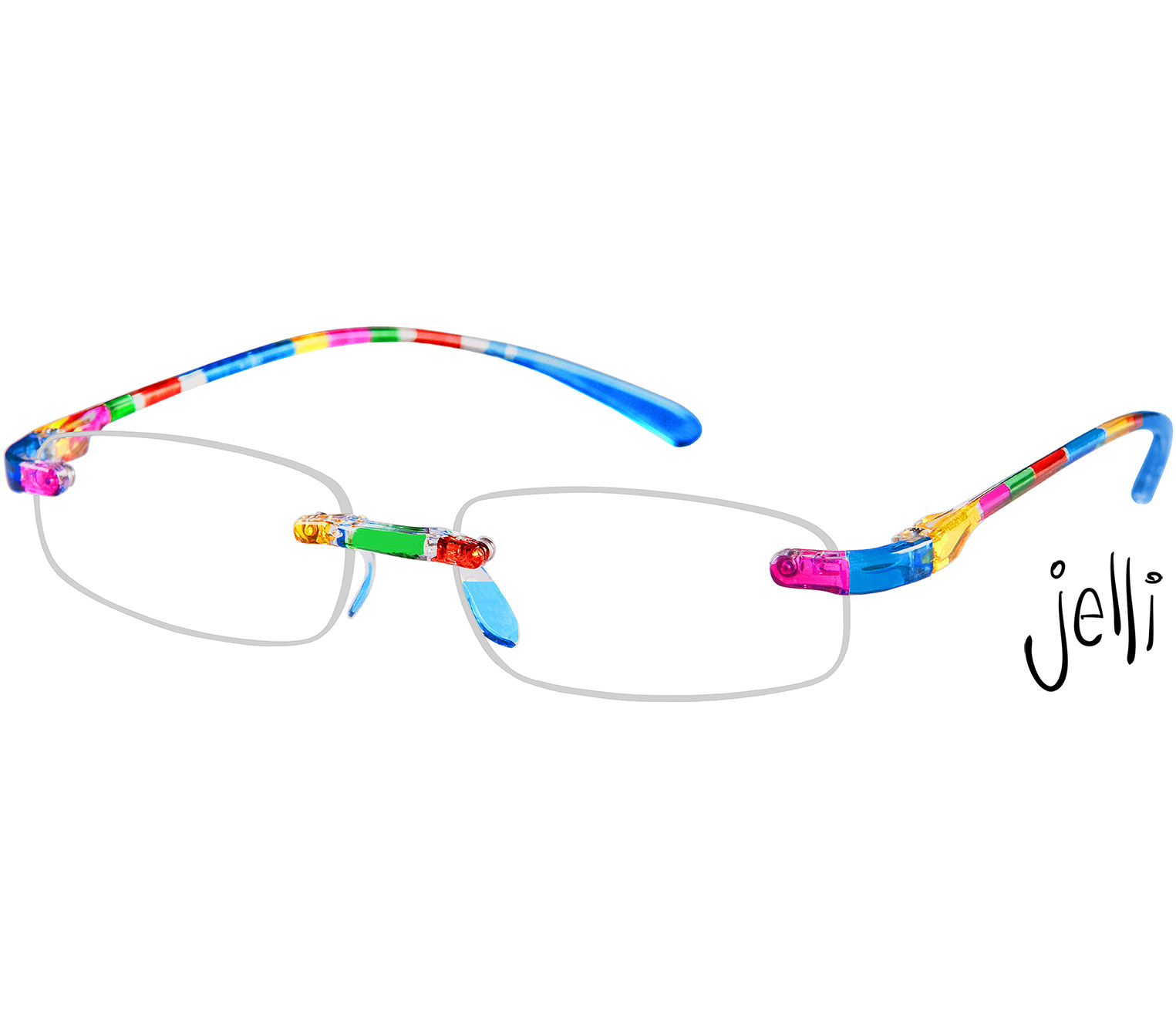 Main Image (Angle) - Jelli (Multi-coloured) Rimless Reading Glasses