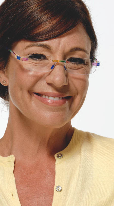 Jelli (Multi-coloured) Rimless Reading Glasses - Thumbnail Model Image