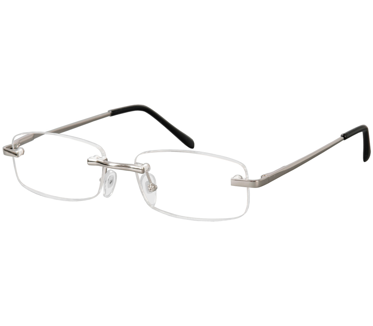 Main Image (Angle) - Oslo (Silver) Rimless Reading Glasses