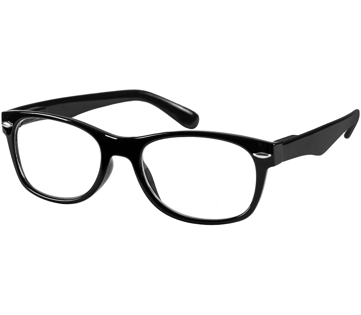 Main Image (Angle) - Harper (Black) Retro Reading Glasses