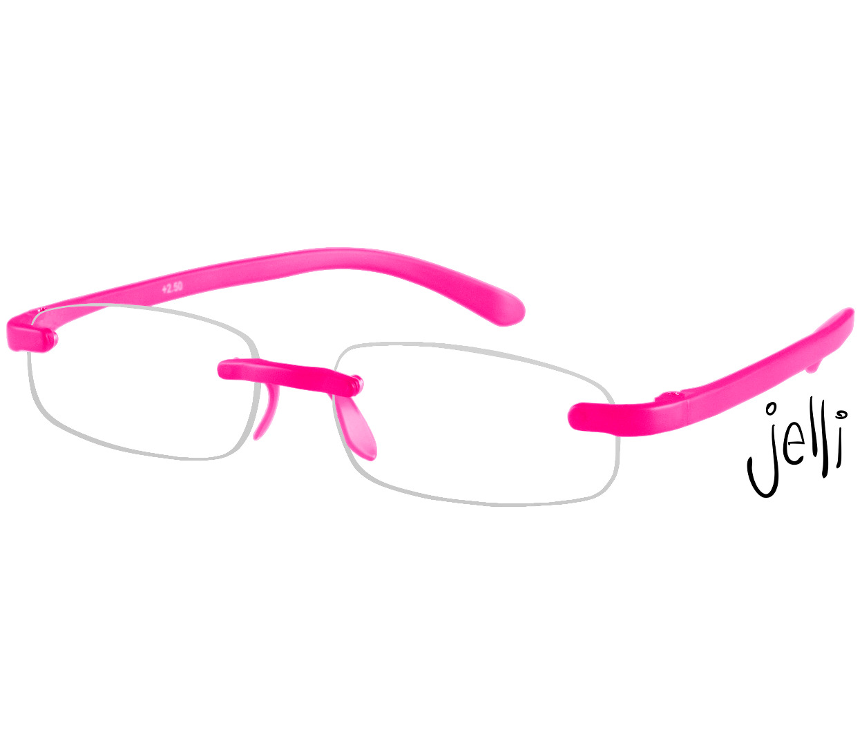 Main Image (Angle) - Jelli Neon (Pink) Rimless Reading Glasses