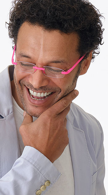 Jelli Neon (Pink) Rimless Reading Glasses - Thumbnail Model Image