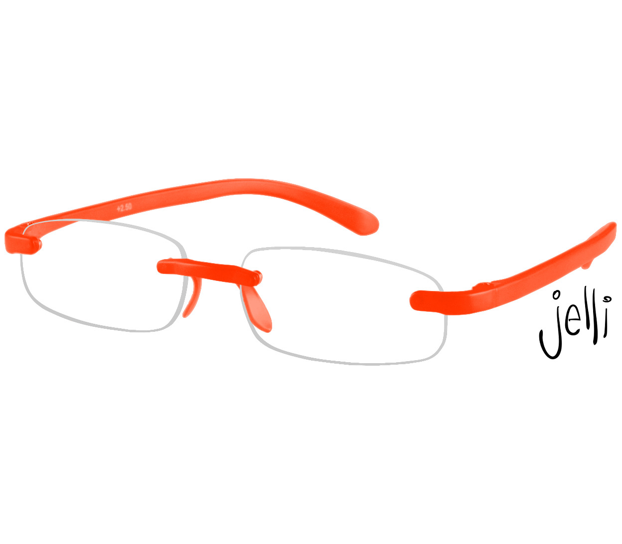 Main Image (Angle) - Jelli Neon (Orange) Rimless Reading Glasses