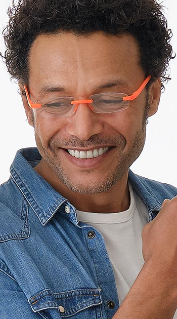 Jelli Neon (Orange) Rimless Reading Glasses - Thumbnail Model Image
