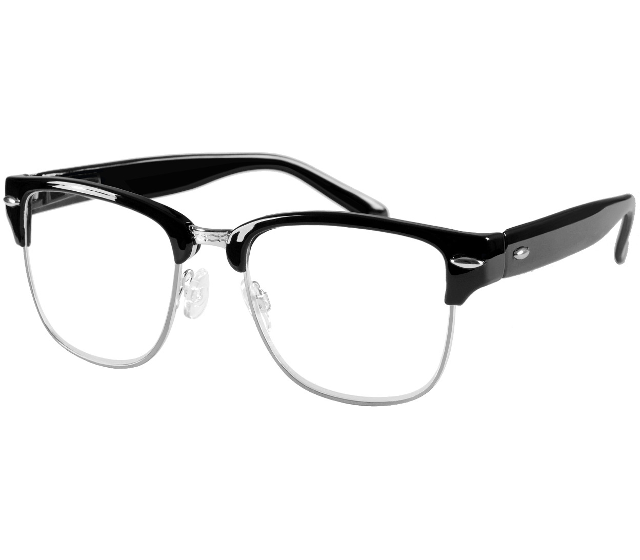 Main Image (Angle) - Harvard (Black) Retro Reading Glasses