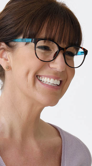 Lala (Blue) Cat Eye Reading Glasses - Thumbnail Model Image