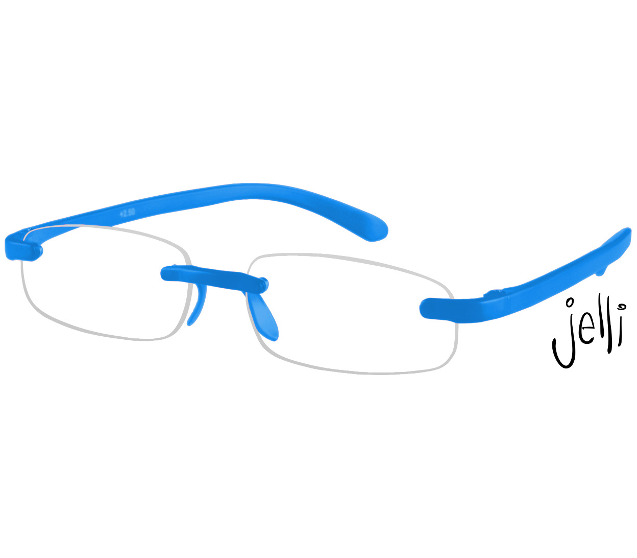 Main Image (Angle) - Jelli Neon (Blue) Rimless Reading Glasses
