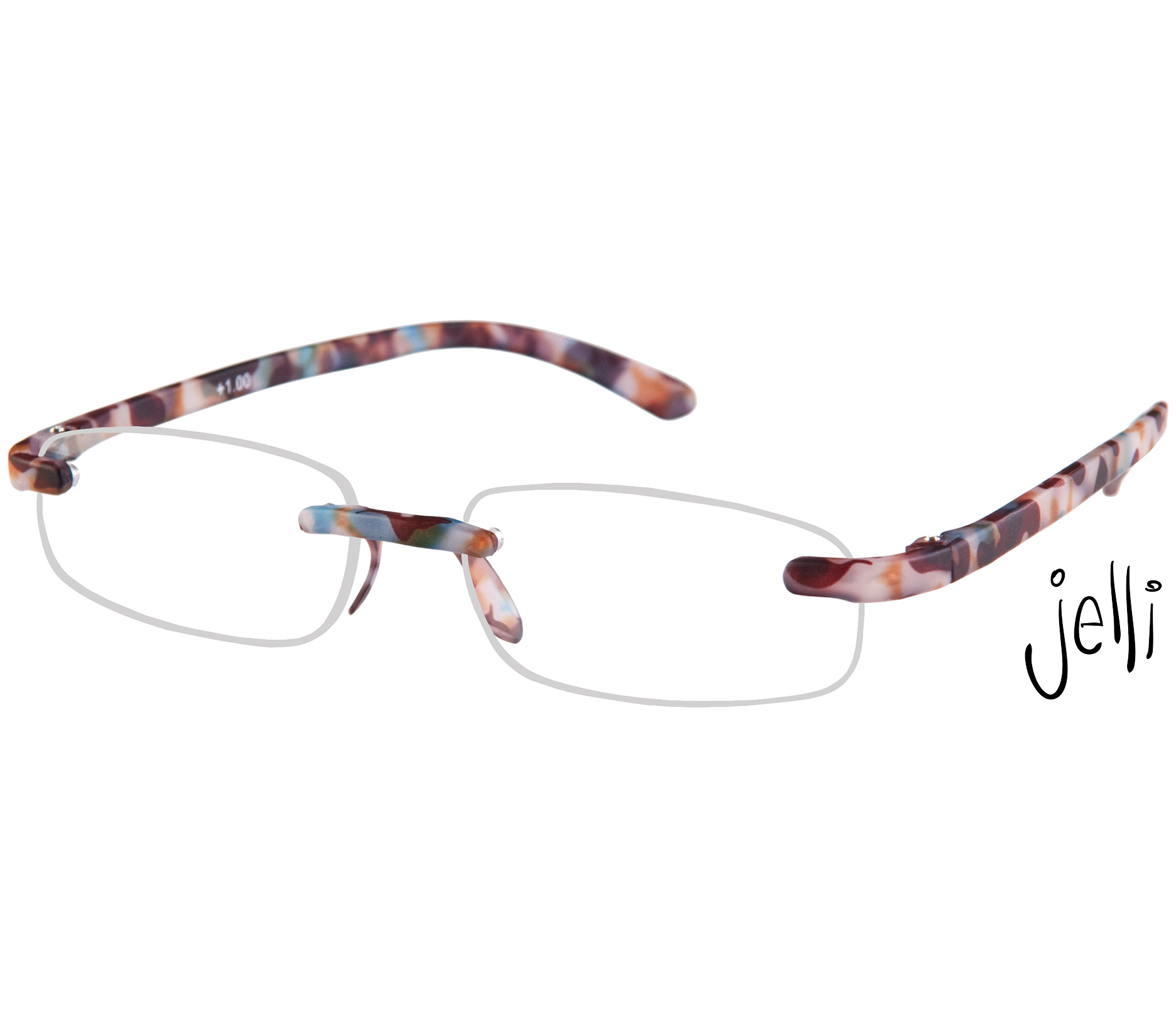 Main Image (Angle) - Jelli (Multi Tortoise) Rimless Reading Glasses