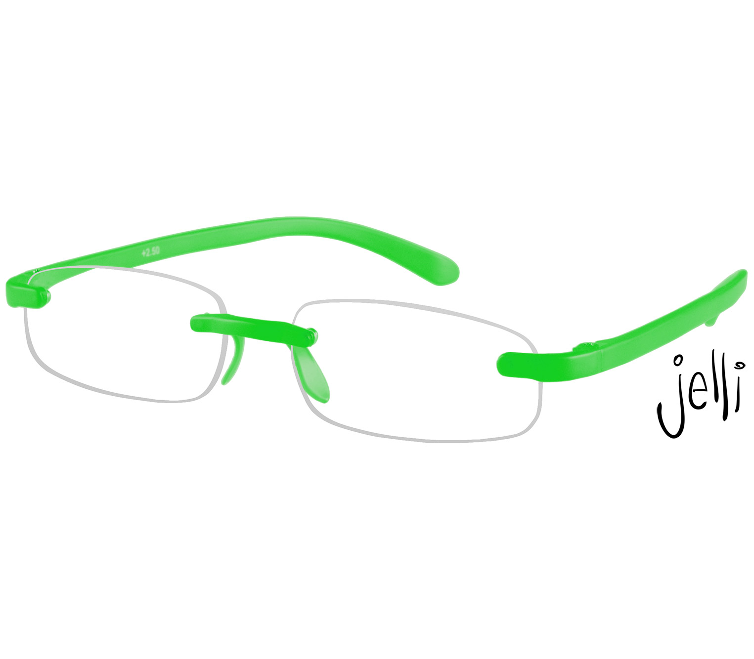 Main Image (Angle) - Jelli Neon (Green) Rimless Reading Glasses
