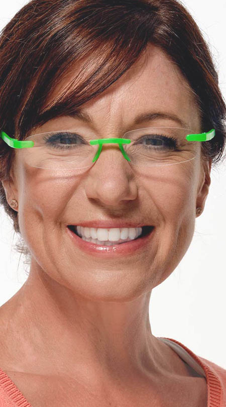 Jelli Neon (Green) Rimless Reading Glasses - Thumbnail Model Image