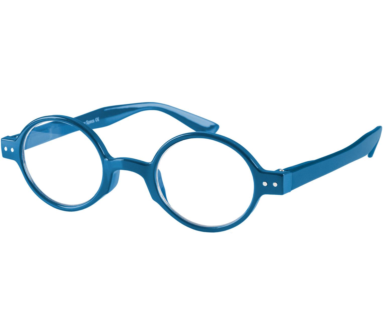 Main Image (Angle) - Woodstock (Blue) Retro Reading Glasses