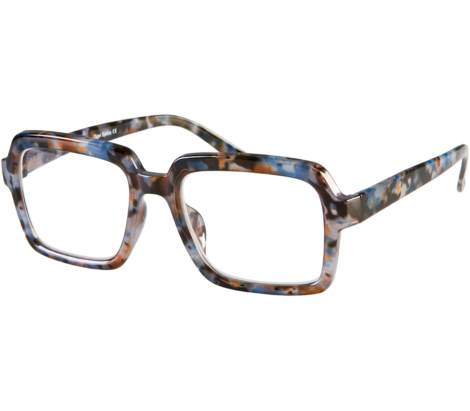 Main Image (Angle) - Downtown (Blue Tortoise) Retro Reading Glasses