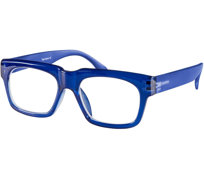 Main Image (Angle) - Showbiz (Blue) Retro Reading Glasses