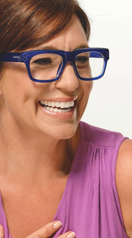 Showbiz (Blue) Retro Reading Glasses - Thumbnail Model Image