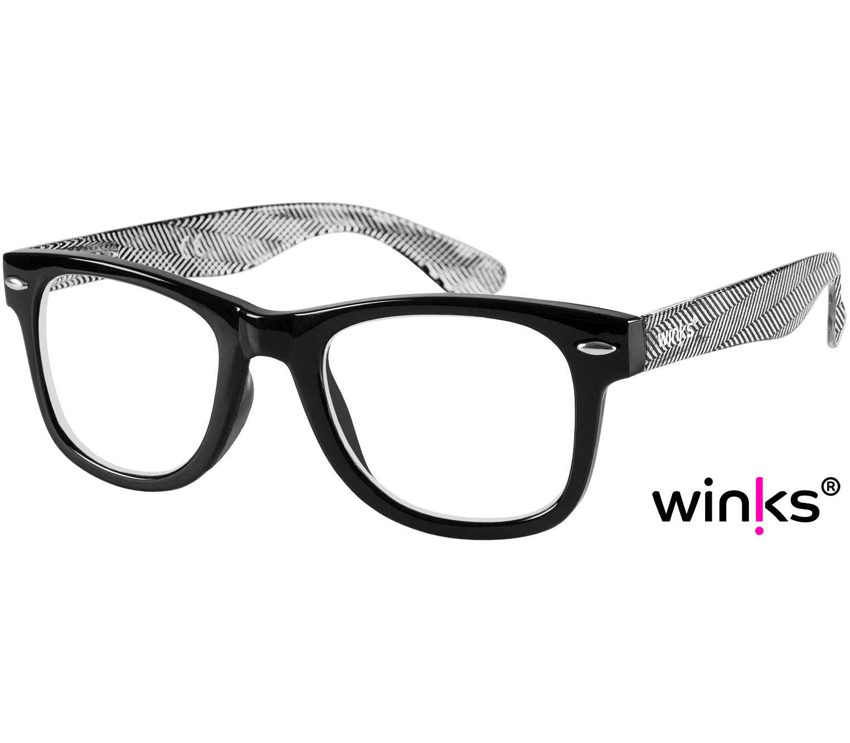 Main Image (Angle) - Henley (Black) Retro Reading Glasses