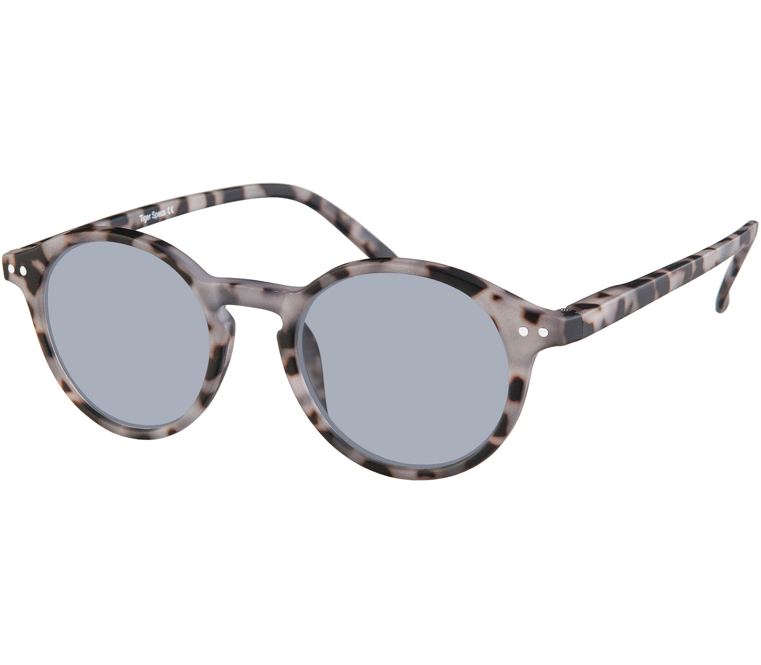 Main Image (Angle) - Palma (Grey Tortoise) Retro Sun Readers