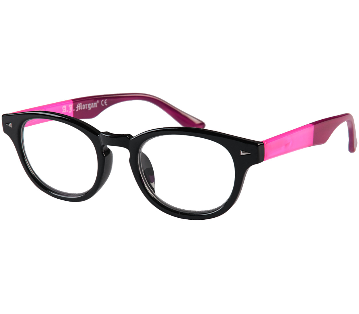 Main Image (Angle) - Big Fun (Black) Retro Reading Glasses