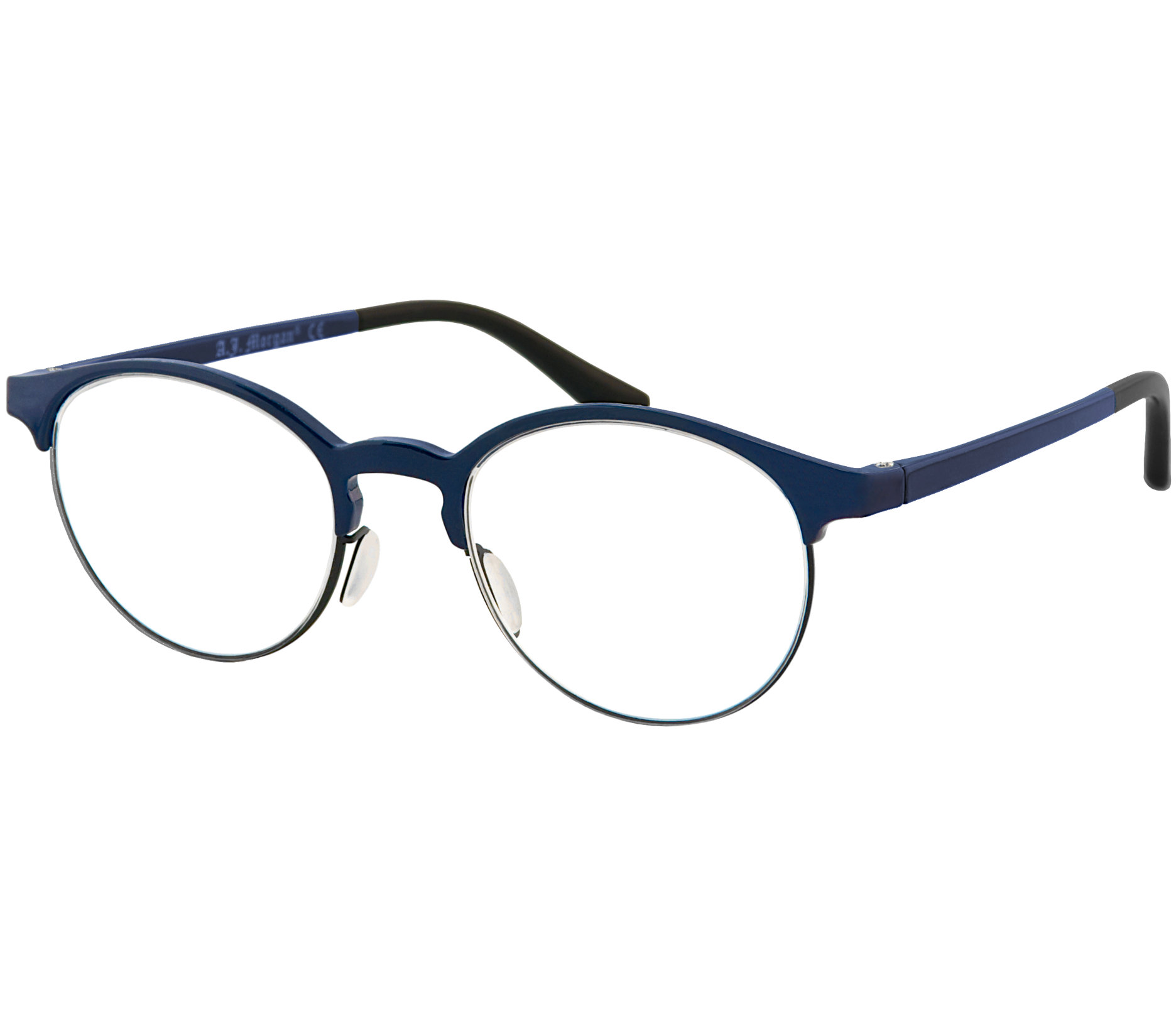 Main Image (Angle) - Chester (Blue) Round Reading Glasses