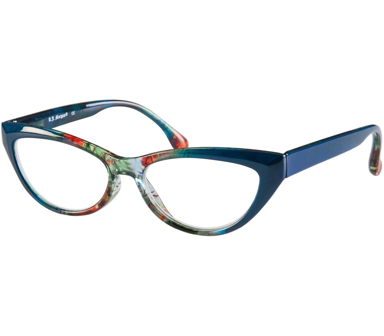 Main Image (Angle) - Mardi Gras (Blue) Cat Eye Reading Glasses