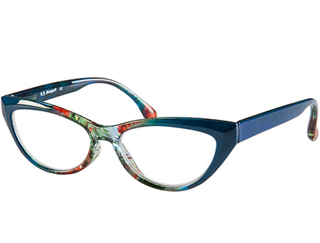 Mardi Gras (Blue) Cat Eye Reading Glasses - Thumbnail Product Image