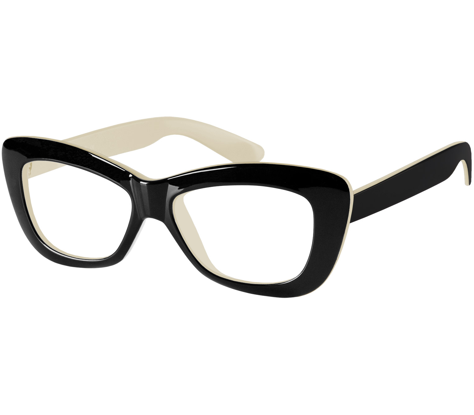 Main Image (Angle) - Crushed (Black) Cat Eye Reading Glasses