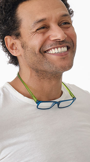 Swing (Blue) Neck Hanging Reading Glasses - Thumbnail Model Image