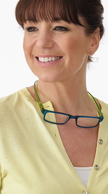 Swing (Blue) Neck Hanger Reading Glasses - Thumbnail Model Image