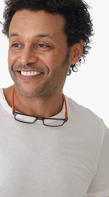 Swing (Orange) Neck Hanging Reading Glasses - Thumbnail Model Image