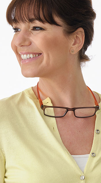 Swing (Orange) Neck Hanger Reading Glasses - Thumbnail Model Image