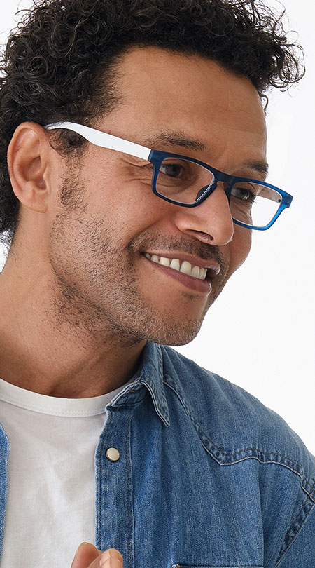 Sugar (Blue) Classic Reading Glasses - Thumbnail Model Image