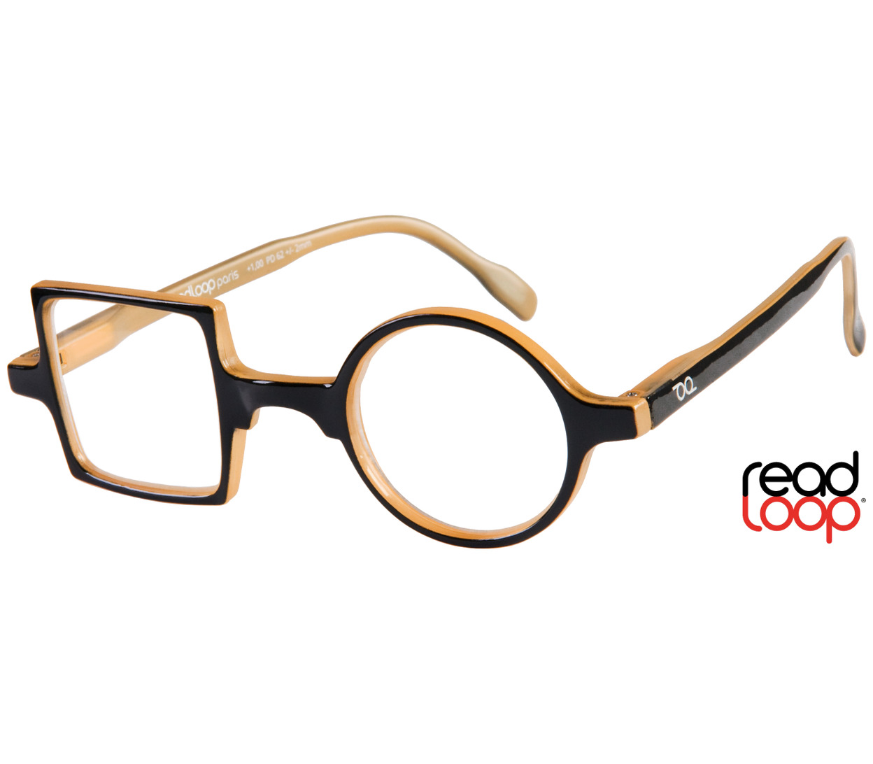 Main Image (Angle) - Patchwork (Black) Retro Reading Glasses