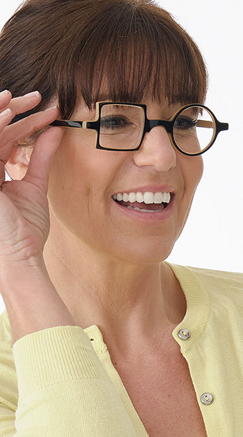 Patchwork (Black) Retro Reading Glasses - Thumbnail Model Image
