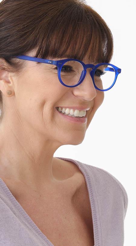 Nevada (Blue) Retro Reading Glasses - Thumbnail Model Image