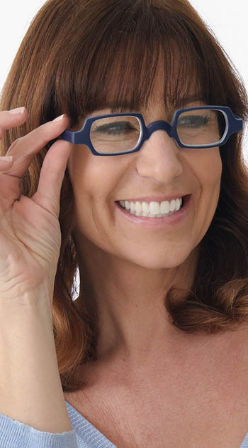 Culture (Blue) Retro Reading Glasses - Thumbnail Model Image