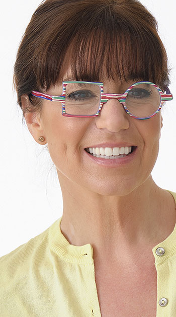 Patchwork (Multi) Retro Reading Glasses - Thumbnail Model Image