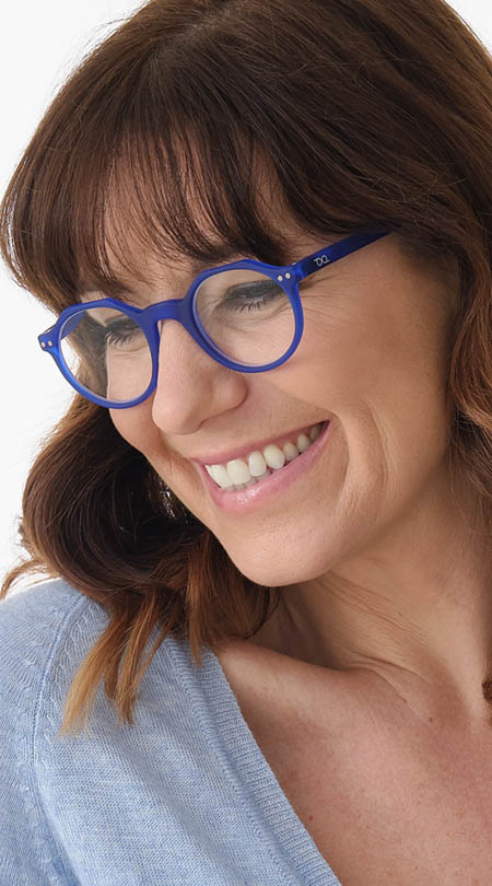 Hurricane (Blue) Retro Reading Glasses - Thumbnail Model Image