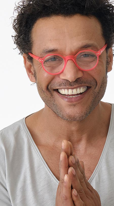 Hurricane (Pink) Retro Reading Glasses - Thumbnail Model Image