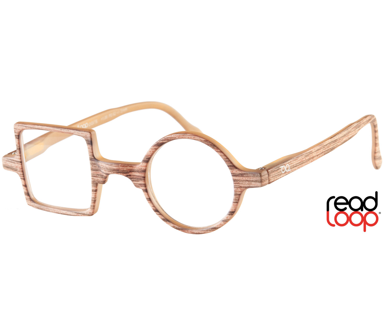 Main Image (Angle) - Patchwork (Wood Effect) Retro Reading Glasses
