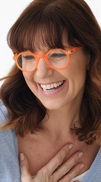 Hurricane (Orange) Retro Reading Glasses - Thumbnail Model Image