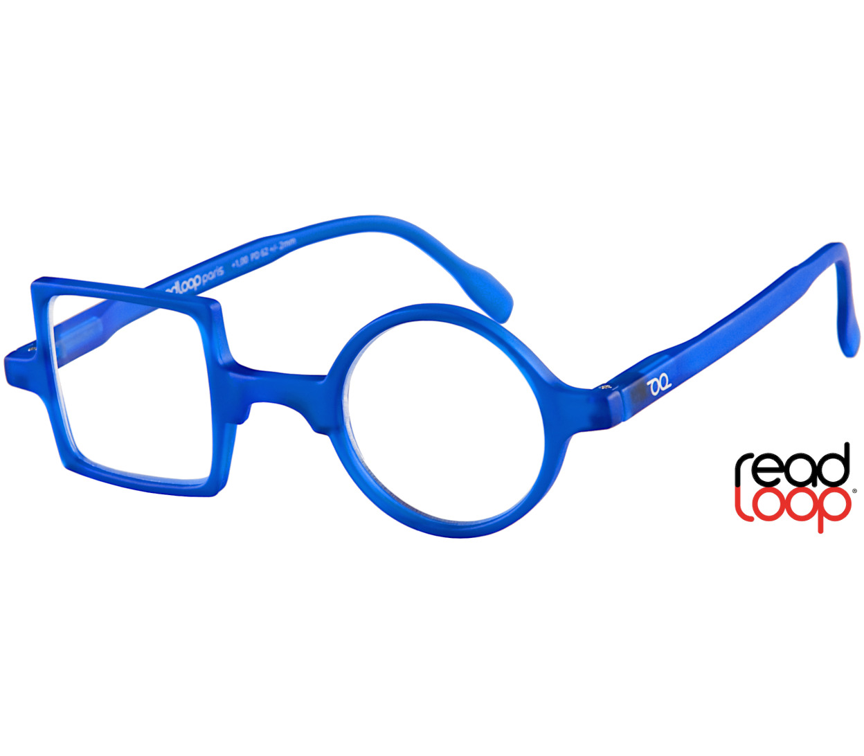 Main Image (Angle) - Patchwork (Blue) Retro Reading Glasses