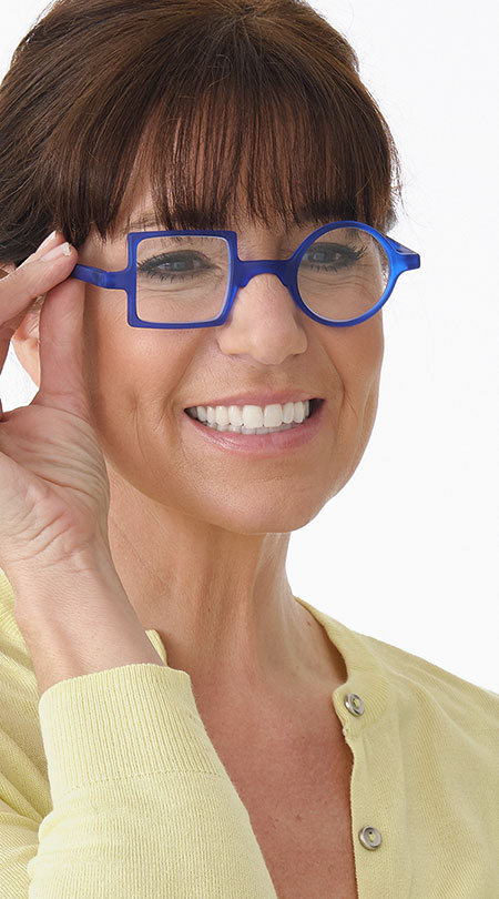 Patchwork (Blue) Retro Reading Glasses - Thumbnail Model Image