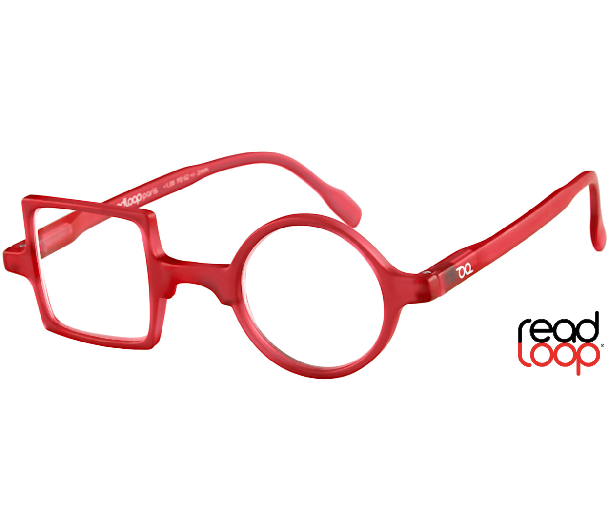 Main Image (Angle) - Patchwork (Red) Retro Reading Glasses
