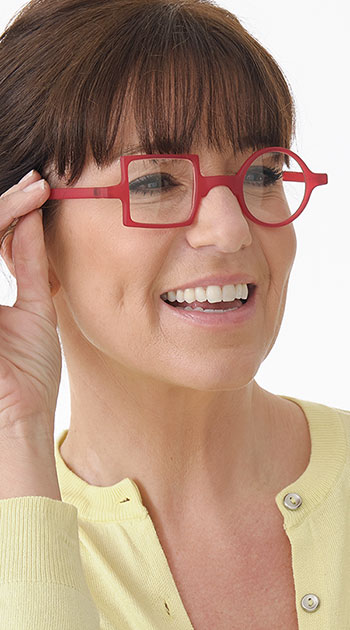 Patchwork (Red) Retro Reading Glasses - Thumbnail Model Image